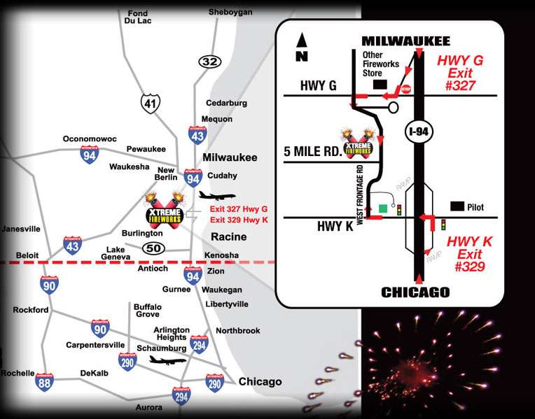 Map to Xtreme Fireworks